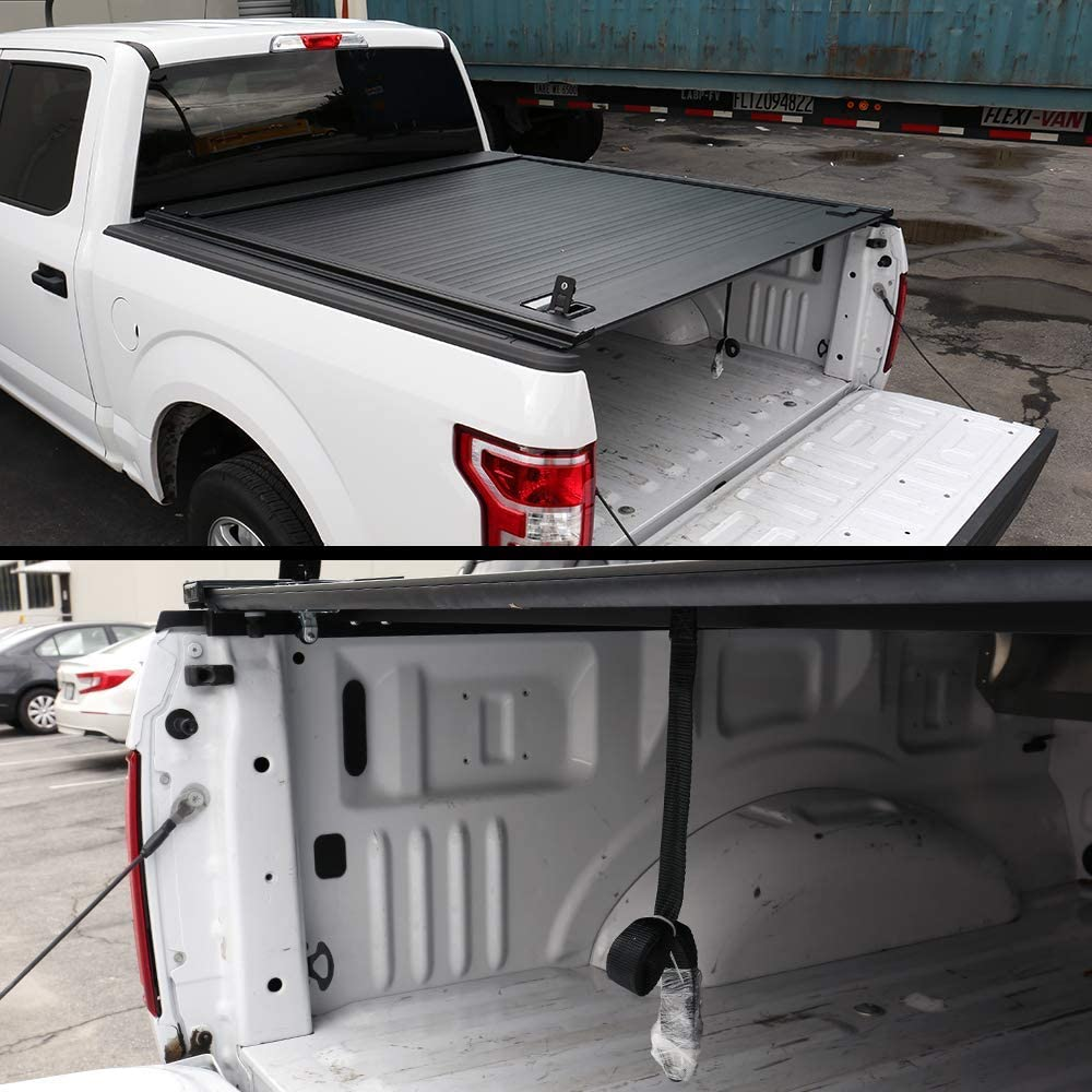 Best Tonneau Covers For Ford F150, Syneticusa Aluminum Retractable Low Profile Waterproof Tonneau Cover