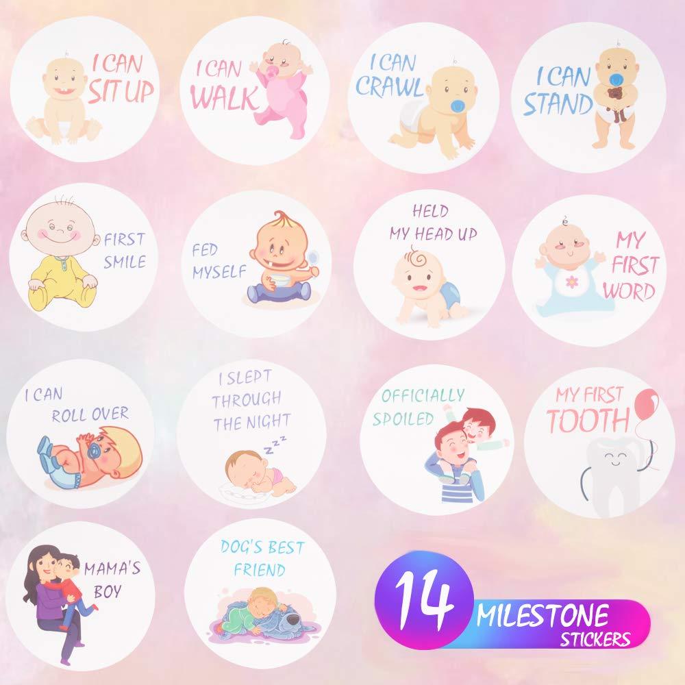 Adesivi mensili per neonato Miglior regalo di registro o scrapbook foto ricordo adorabili adesivi per il primo anno di nascita ragazzo o neonato set di 40