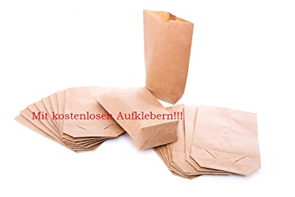 25 pequeñas bolsas de papel kraft con suelo (14 x 22 x 5,6