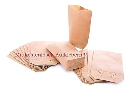 100 petits sacs en papier avec fond (14 x 22 x 5,6 cm) en papier kraft - pour pochettes cadeaux, calendrier de l'avent, cadeaux, etc.