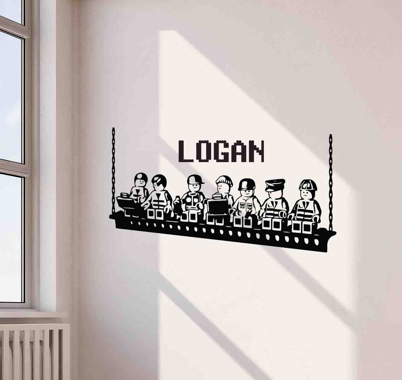 Personalized lego wall decal lego builders custom name children gift playroom vinyl sticker living room kids teens decorations home bedroom nursery decor