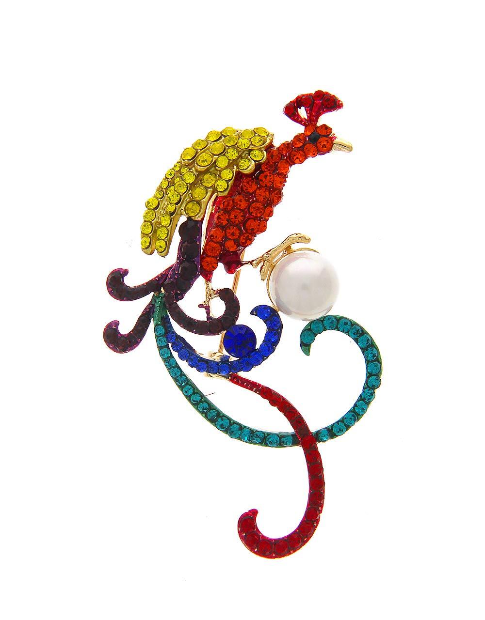 Anuradha Art Multi Colour Studded Sparkling Stone Wonderful Brooch Saree Pin for Women/Men