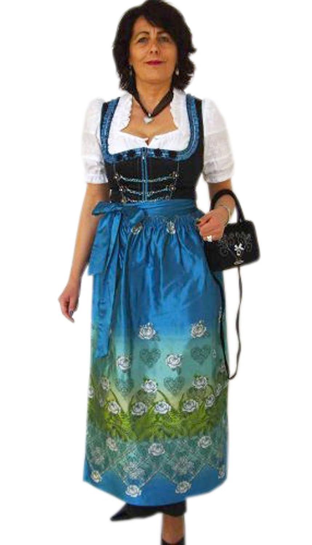 Schwarzes langes ausdrucksstarkes Dirndl Rosaria mit blauer Schürze und Jacquarmiederoberteil