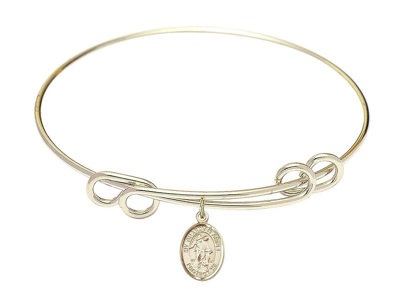 DiamondJewelryNY Double Loop Bangle Bracelet with a Guardian Angel w//Child Charm.