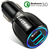 Car Charger QuickCharge 3.0 35W Adapter Usb Fast Charge, Port 1 QC 3.0 Port 2 Smart Power 3.1A Samsung, Android, Galaxy s9, ipad, Surface Pro, Lg, Apple