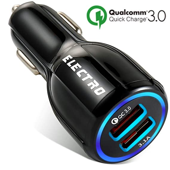Car Charger QuickCharge 3.0 35W Adapter Usb Fast Charge, Port 1 QC 3.0 Port 2 Smart Power 3.1A Samsung, Android, Galaxy s9, ipad, Surface Pro, Lg, ...