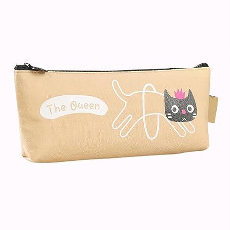 Drawihi Estuche de lápices, caja de lápices con motivo de gato de flores. Beige