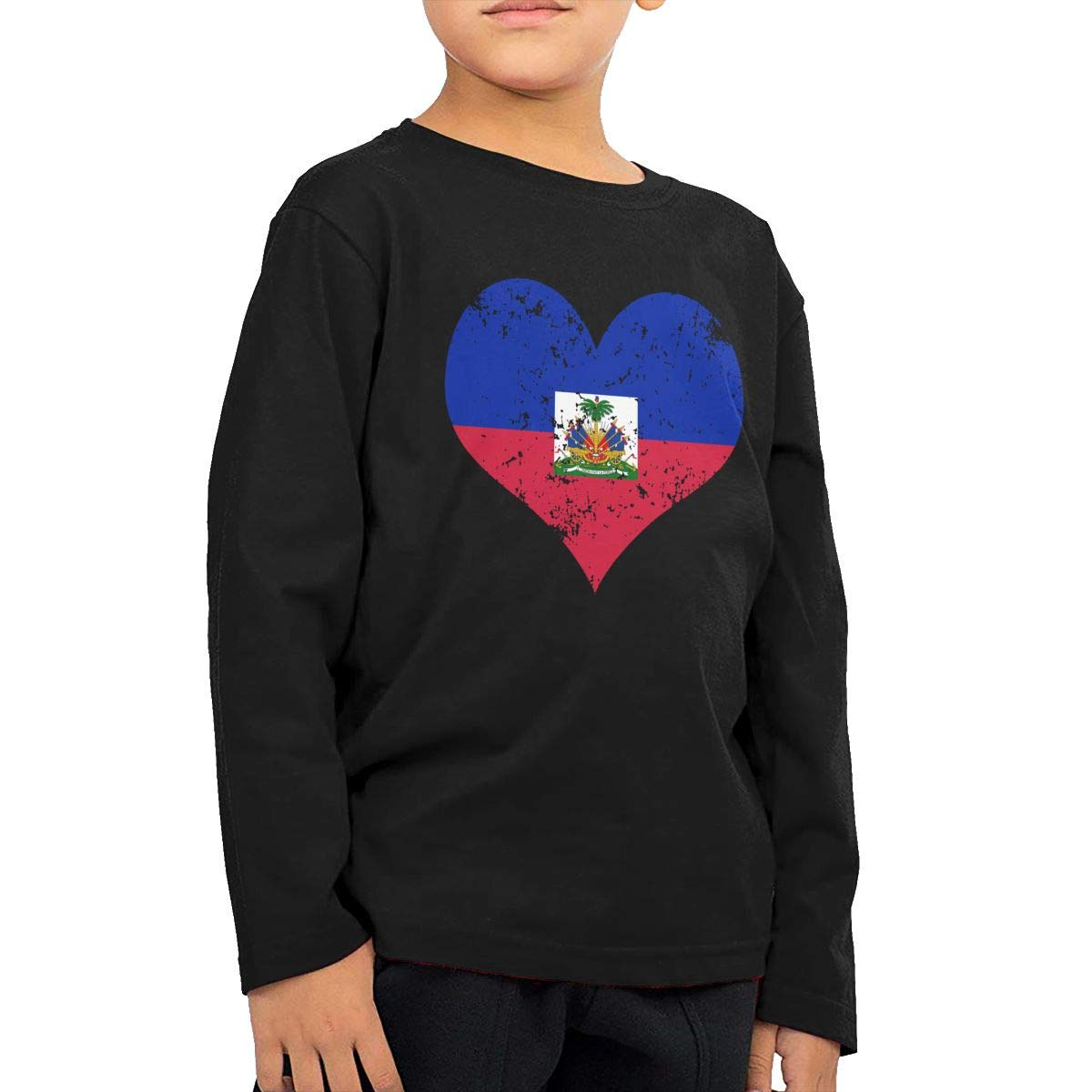 SHIRT1-KIDS Haiti Heart Flag Toddler//Infant Crew Neck Long Sleeve Shirt Tee Jersey for Toddlers