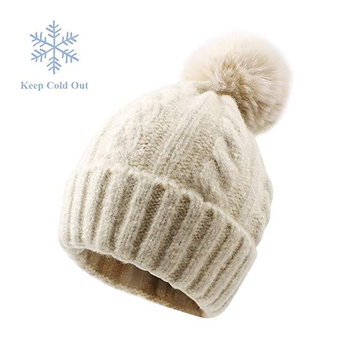 35c6bd50e64 XIAOHAWANG Baby Boys Girls Hats Faux Fur Pom Pom Toddler Winter Beanies  Warm Kids Knit Lovely