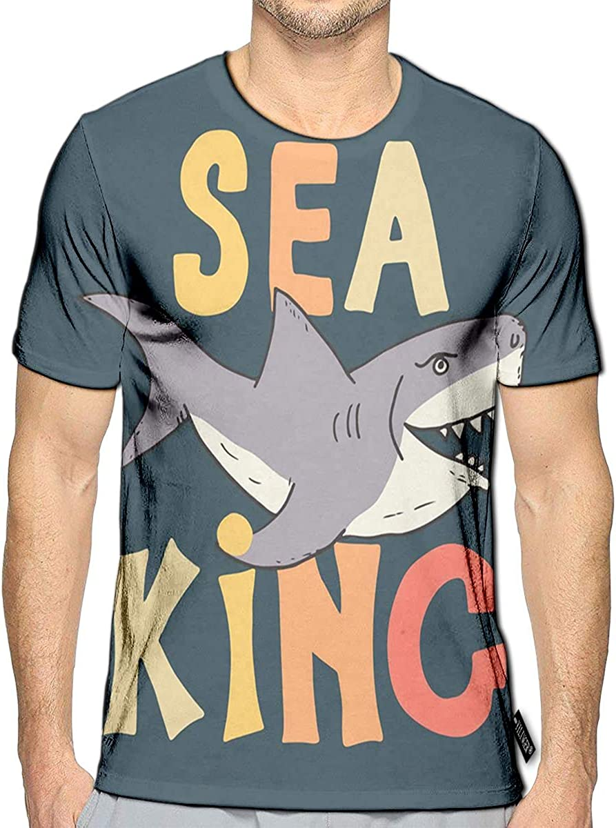 3D Printed T-Shirts Cute Shark Sketch Sea King Short Sleeve Tops Tees