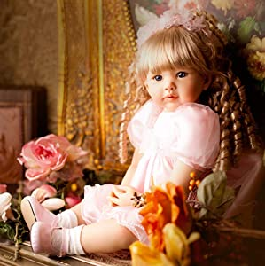 iCradle 24inch 60cm Reborn Baby Doll Long Hair Princess Girl Doll Soft Silicone Baby Real Life Baby Toddler Doll Toy for Ages 3+