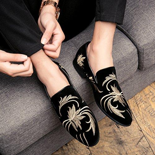 in Slip Scarpe Pelle Uomo Nero Anguang Sneakers Mocassini 2 On Ricamo Guida PU Classico Loafers da 0Ptwq