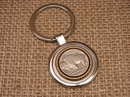 - Genuine Buffalo Nickel Coin Round Stainless Key Ring/Key Chain