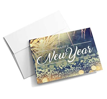 new year fireworks new year cards 25 signature greeting cards with your custom message
