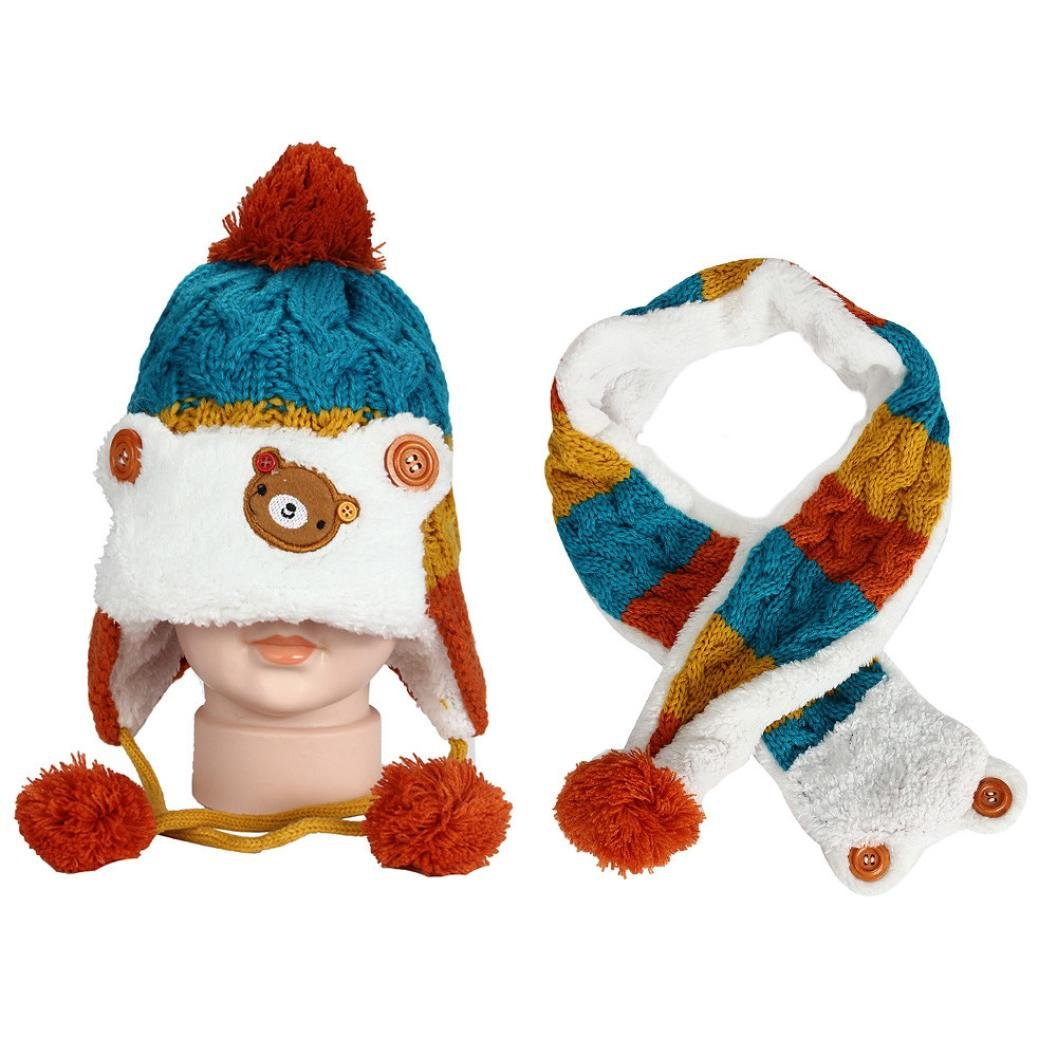 SHOBDW 2PCS Baby Girls Cute Cartoon Monkey Knitting Warm Hat Scarf Kids Child Cotton Cap Sets Boys Hats