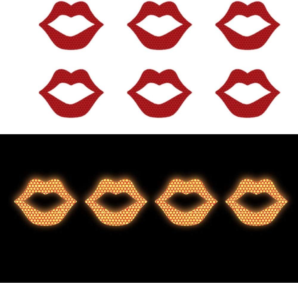 10x Nastro Adesivo Riflettente Notte Riflessivo Sicurezza Nastro di Avviso Per Camion Auto Moto Biciclette Barca Trailer Casco Borse Forma di stampa del labbro D-45 Rosso