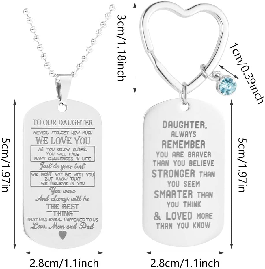 redcherry 2 Pieces Daughter Keyring Keychain Inspirational Gifts Silver Stainless Steel Key Fob Key Ring Decoration