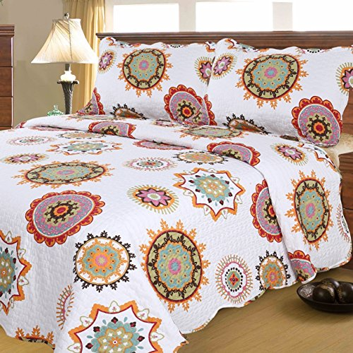 Mohap Floral Quilt Set 3 Piece Queen Size Lightweight Bedspread 1 Quilt and 2 Matching Shams for All Season Sunflower Pattern