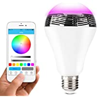 Lunvon Wireless Bluetooth Speaker Colour Changing Bulb, Smart RGB LED Light Bulbs Mood Lighting with APP Remote Control, Memory Function, 7 Main Colors, Over 16 Million Supported Colors for Home Party