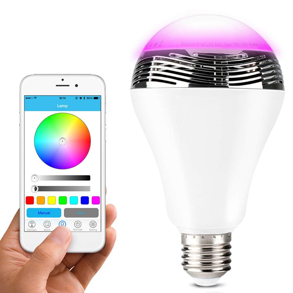 Lunvon Bombilla Bluetooth Inalá mbrica Bluetooth 4.0 Altavoz Bombilla de Luz LED Multicolor Regulable Con la Aplicació n Gratuita Controlada, Cambiar LED de 16 Millones de Color