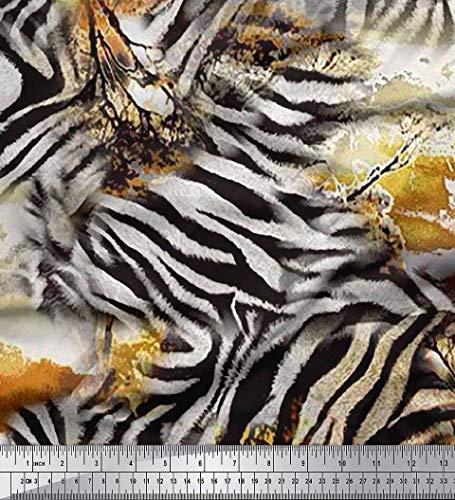 Soimoi Gold Velvet Fabric Tree & Zebra Animal Skin Print Sewing Fabric BTY 58 Inch Wide