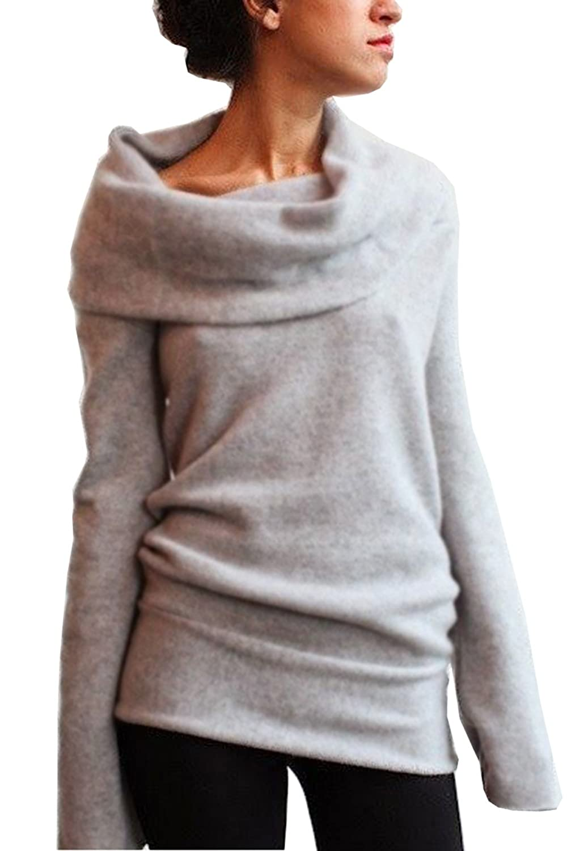 Women Draped Neck Hoody Jumper Mini Dress Sweater