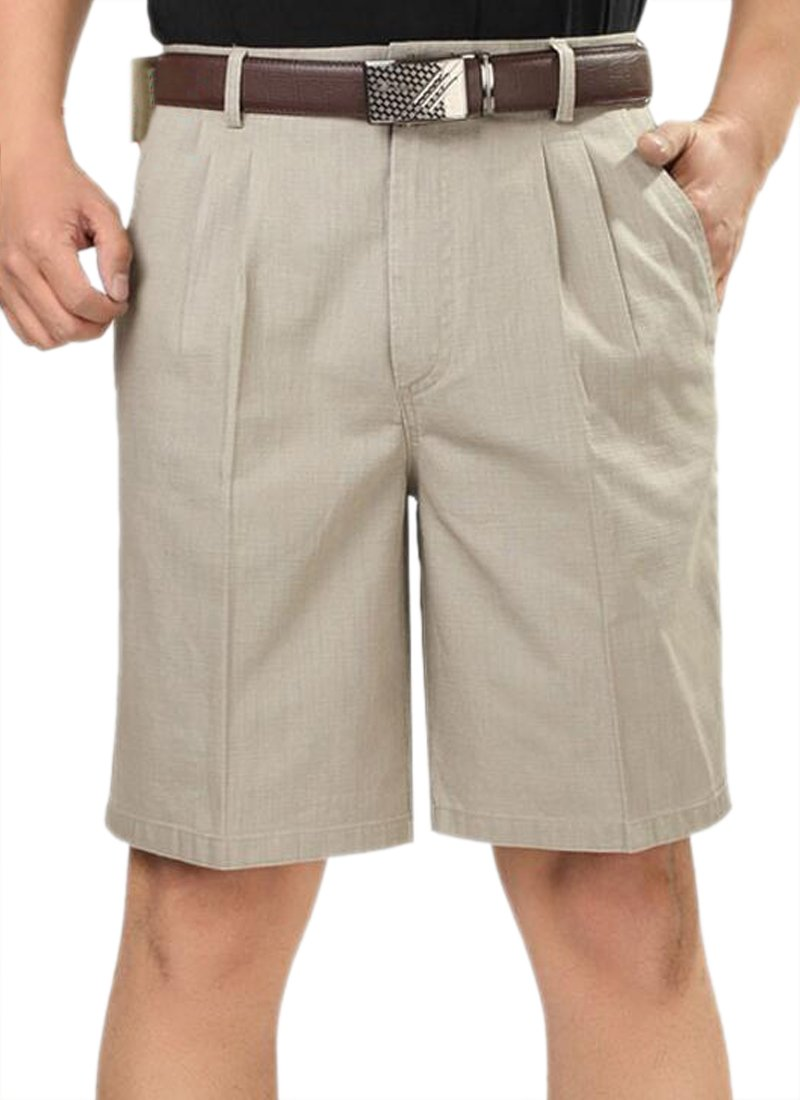 Pivaconis Mens Pleated Classic Fit Summer Casual Baggy Fit High Waist Shorts Khaki 36 by Pivaconis (Image #1)