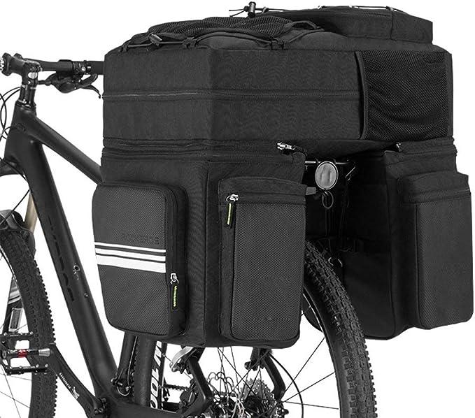 ZHLZH Alforjas Bicicleta Montaña/3 En 1 Bolsas De Estante Trasero De Bicicleta 48l Asiento De Ciclismo Bolsa De Pannier MTB Equipaje De Cola Bolsa De Sillín De Bicicleta Bolsa con Cubierta De