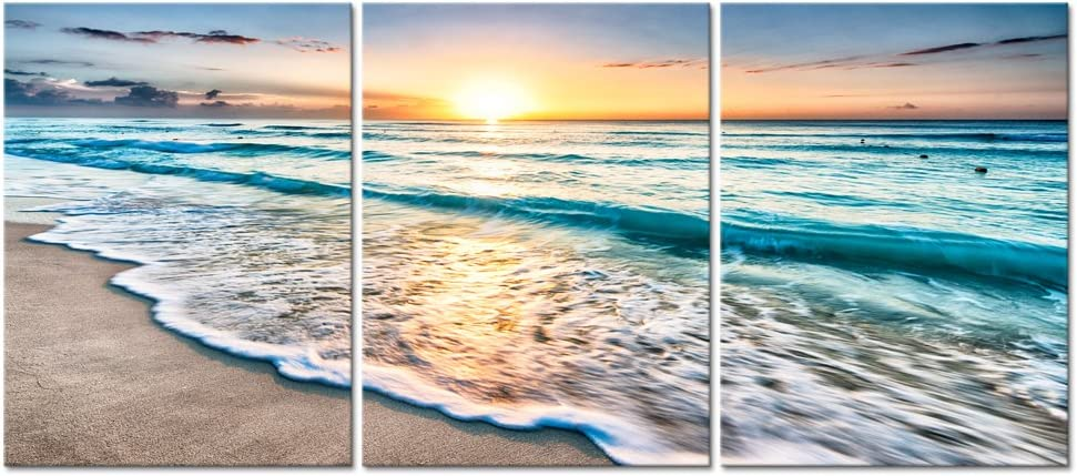 Pyradecor 3 Panels Blue Beach Sunrise White Wave Pictures Painting on Canvas Wall Art Modern Stretched and Framed Seascape Giclee Canvas Prints Seaview Landscape Artwork for Home Office Decorations