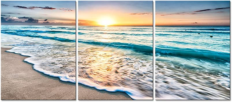 Amazon Com Pyradecor 3 Panels Blue Beach Sunrise White Wave Pictures Painting On Canvas Wall Art Modern Stretched Seascape Canvas Prints Seaview Landscape Artwork For Home Office Decorations Posters Prints