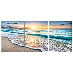 Pyradecor 3 Piece Giclee Canvas Prints Wall Art Paintings for Living Room Home Office Decorations - Blue Beach Sunrise White Wave Modern Gallery Wrapped Seascape Seaview Pictures Artwork Ready to Hang