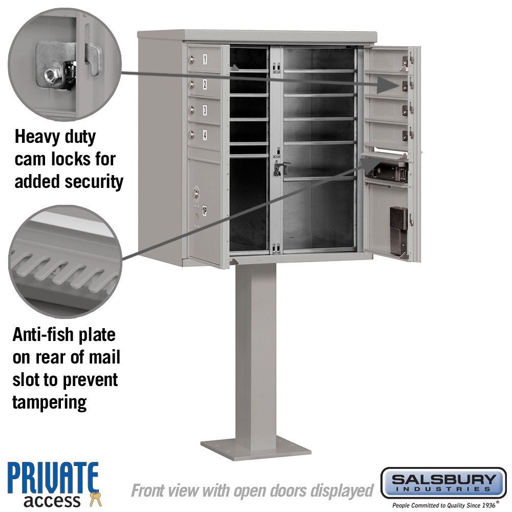 Salsbury Industries 3308GRY-P Cluster Box Unit with Pedestal and Master Locks, 8 A Size Doors, Type I, Gray