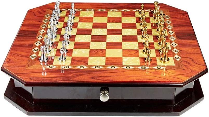 ZOUJUN Ajedrez y Damas Set - Ajedrez Juego de Mesa for Adultos y for niños con Grandes Damas, Piezas de ajedrez portátil Recorrido de la Caja de Juego Que aprende: Amazon.es: Hogar