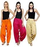 NGT Orange, Beige And Rani Pink Pure Cotton Patialas in a Combo Pack For Womens