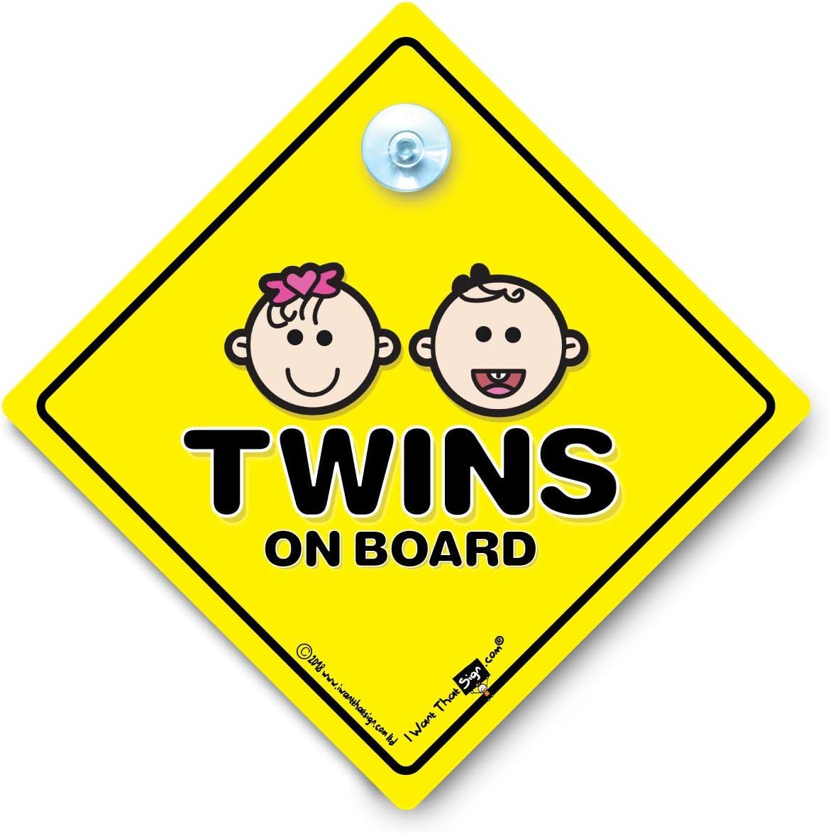 Panneau de voiture Twins on Board avec ventouse en caoutchouc