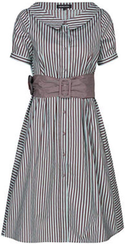 Trajes con falda Vestido De Camisa A Rayas para Mujer Cintura para ...