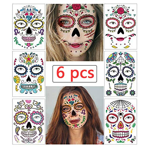 Halloween Temporary Face Tattoos 6 Sheets Sugar Skull Stickers Day of The Dead Makeup for Women Men Adults Black Skeleton Glitter Mexican Halloween Masquerade and Parties