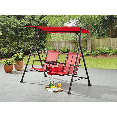 Ozark Trail* Big and Tall 2-Person Bungee Canopy Porch Swing in Red