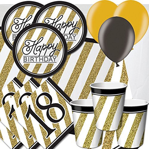 Black & Gold 18th Birthday Party Pack for 8 - Plates, Cups, Napkins, Balloons and Tablecover by Signature Balloons