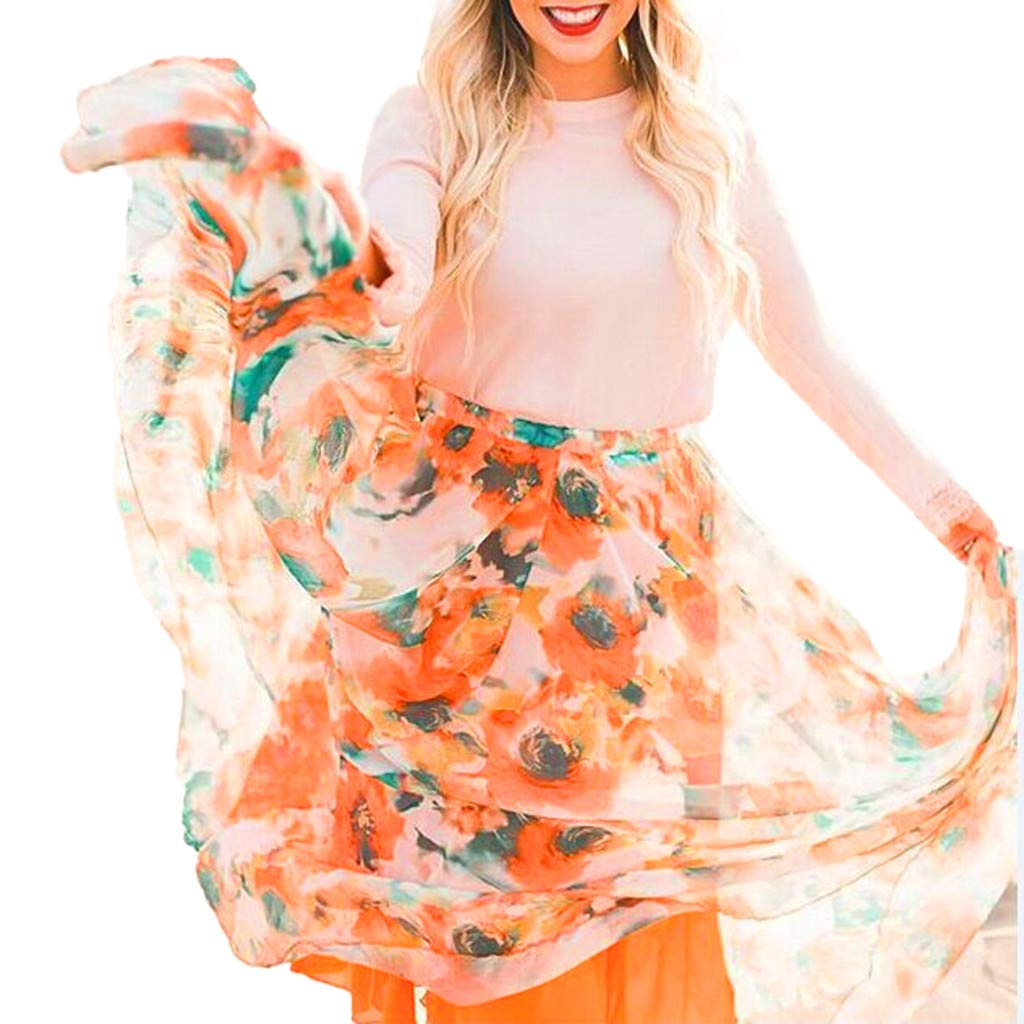 Ladies Maxi Skirts Spring Summer Floral Print Fashion Casual Pleated Bohemia Big Long Skirt (M, Orange)
