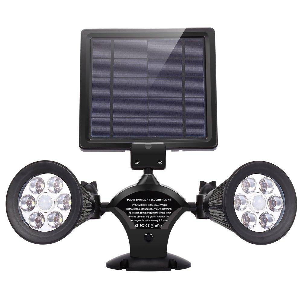 Solar Motion Sensor Light, INLIFE Dual Head Spotlight Adjustable Wireless Waterproof 12 LED Solar Powered Security Wall Light for Garage, Garden, Yard, Outdoor - Auto On/Off