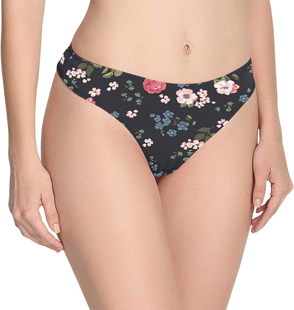 INTERESTPRINT Womens Thong Underwear Stretchy Panties Trendy Floral Pattern