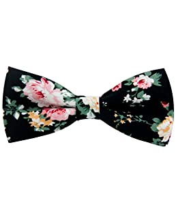 Mantieqingway Men's Cotton Floral Bow Tie 069