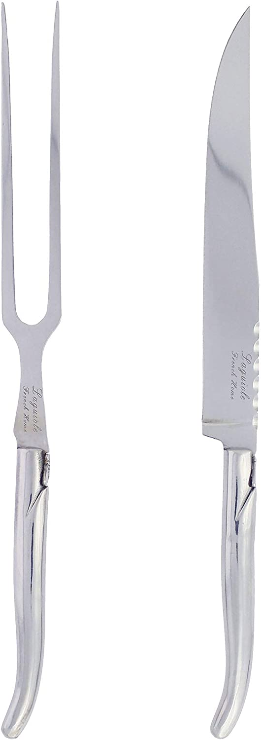French Home, LLC French Home Laguiole Stainless Steel Set Carving Knife and Fork, 12