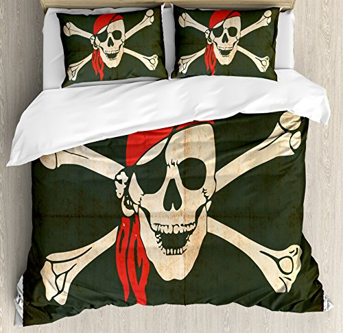 - Ambesonne Pirate Duvet Cover Set Queen Size, Flag of Tierra del Fuego Argentina in Grunge Antique Historical, Decorative 3 Piece Bedding Set with 2 Pillow Shams, Army Green Beige Vermilion