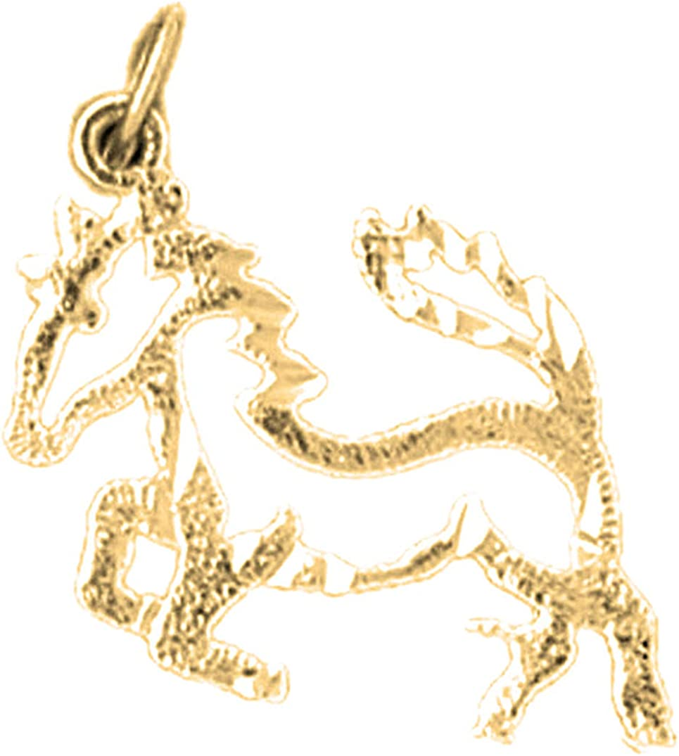 Jewels Obsession Silver Horse Pendant 14K Yellow Gold-plated 925 Silver Horse Pendant