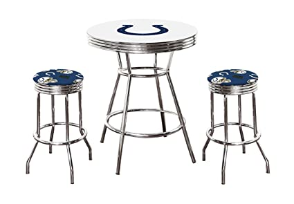 Amazing Amazon Com 3 Piece White Pub Bar Table With Team Logo And 2 Short Links Chair Design For Home Short Linksinfo
