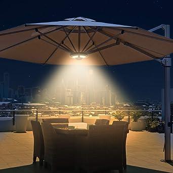 Chesbung - Iluminación LED para sombrilla (36 ledes, 2 modos de brillo, con panel solar y mando a distancia, para jardín, terraza, playa, iluminación exterior, BBQ (luz blanca cálida): Amazon.es: Iluminación