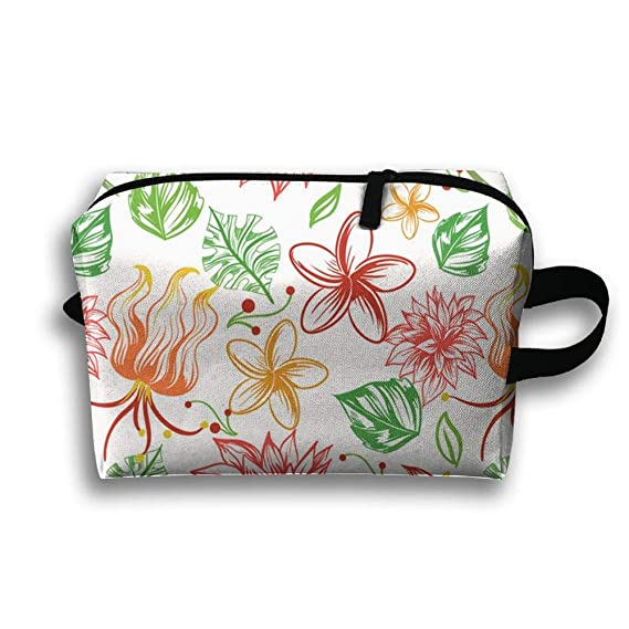 230a9fab4 Amazon.com  Travel Cosmetic Bag Portable Handbag Tropical Flowers ...