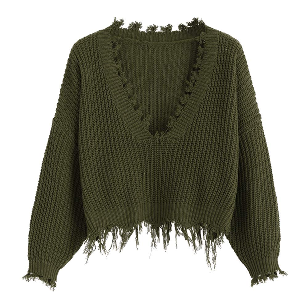 a7df7405fa7 ZAFUL Women's Loose Long Sleeve V-Neck Ripped Pullover Knit Sweater Crop  Top (Army Green) at Amazon Women's Clothing store:
